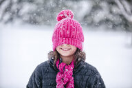 Girl with pink knitted hat pulled over eyes - ISF06117
