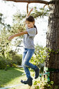 Girl balancing on rope on tree - CUF13815