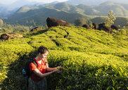 Young woman looking at tea plants in tea plantations near Munnar, Kerala, India - CUF14502