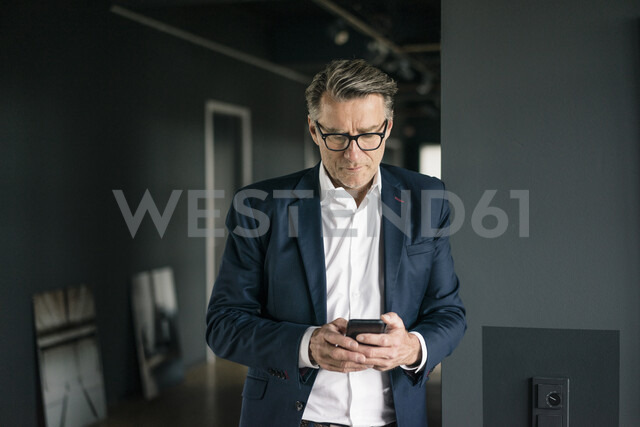 Mature businessman standing in office using cell phone - JOSF02202 - Joseffson/Westend61