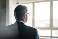 Rear view of mature businessman looking out of window - JOSF02205