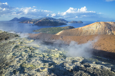 Gran Cratere (The Large Crater) and view of islands Lipari and Salina, Vulcano Island, Aeolian Islands, Sicily, Italy - CUF15983