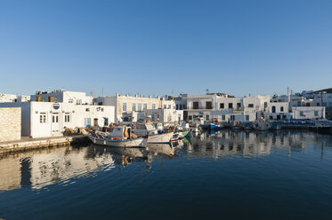 Fishing boats moored in harbour, Naousa, Paros, Cyclades Islands, Aegean sea, Greece - CUF16130