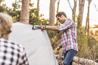 Two men erecting tent in forest, Deer Park, Cape Town, South Africa - CUF17006
