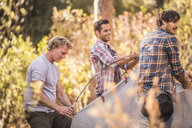 Three men putting up dome tent in forest, Deer Park, Cape Town, South Africa - CUF17042
