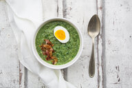 Spinach soup with egg and bacon - LVF06998