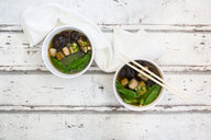 Japanese miso soup, sugar peas, shitake, tofu and mung sprouts - LVF07001