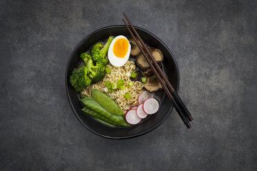 Ramen soup with egg, sugar peas, broccoli, noodles, shitake mushroom and red radish - LVF07013