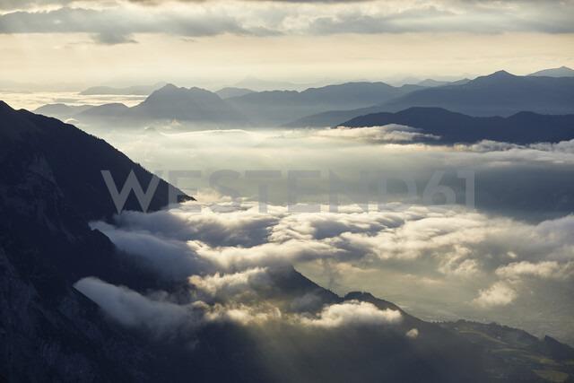 Austria, Tyrol, Innsbruck county, Gnadenwald, Hundskopf, View to Inn Valley at sunrise - CVF00636