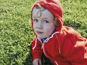 Portrait of little boy on meadow wearing red hoooded jacket - MUF01539