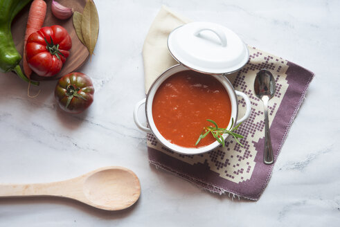 Cooking pot of homemade tomato soup on marble - SKCF00458