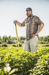 Bearded man in vegetable patch leaning against hoe looking at camera smiling - CUF20287