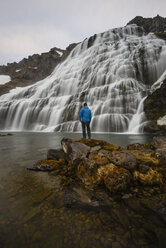 Man standing on rock, watching waterfall, Dynjandi waterfall, Westfjords, Iceland - CUF20682