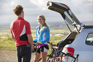 Cyclists chatting before ride - CUF20868