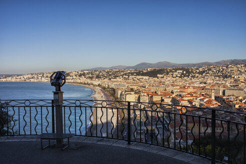 France, Provence-Alpes-Cote d'Azur, Nice, city view at sunrise, viewpoint with telescope on Castle Hill - ABOF00362