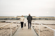 Full length rear view of senior couple walking with Schnauzer on boardwalk at beach against clear sky - MASF07608
