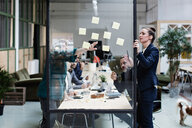 Businesswomen explaining adhesive notes to colleagues in meeting at office - MASF07641