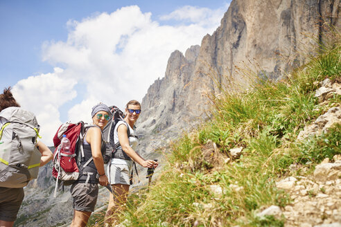 Hikers on mountain looking at camera smiling, Austria - CUF21055
