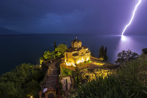 Macedonia, Ohrid, Church of St. John at Kaneo and lightning strike - FPF00167