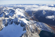 Argentina, Tierra del Fuego, Ushuaia, Aerial view of snow covered moutains - CVF00661