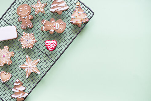 Gingerbread decorated with sugar icing on cooling rack - SKCF00464