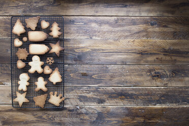 Various home-baked gingerbread cookies on cooling grid - SKCF00467