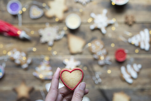 Woman's hand holding heart-shaped gingerbread cookie, close-up - SKCF00479