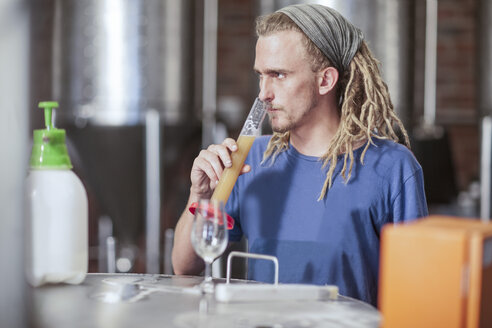 Man in microbrewery quality checking craft beer - ISF08150