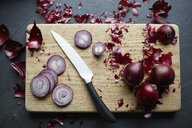 Fresh red onions sliced on cutting board - ISF08601