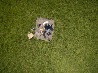 Bird's eye view of woman sitting on blanket on meadow with dog using laptop and tablet - ONF01121