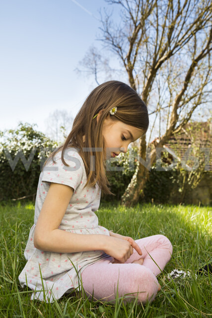 Little girl sitting on a meadow picking daisies - LVF07028