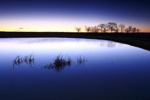 Spain, Castilla y Leon, Province of Zamora, Reserva natural de Lagunas de Villafafila, lake at sunset - DSGF01741