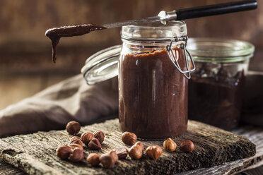 Glass of homemade chocolate spread - SBDF03586