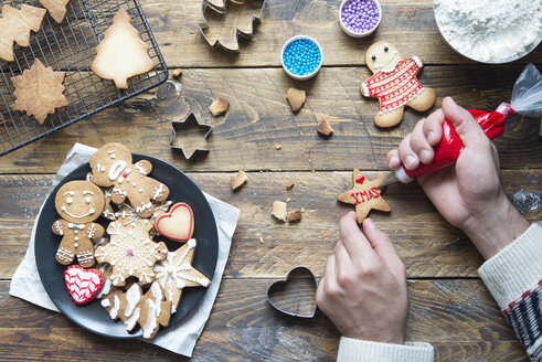 Man's hand decorating Christmas cookie - SKCF00491