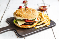 Homemade Hamburger with cheese, french fries, ketchup and tomato - SARF03766