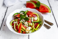 Bowl of salad with watermelon, cucumber, feta and mint - SARF03769