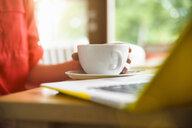 Woman using laptop at coffee break - CUF24932