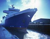 Ferry in sea lock in port, Grimsby, England, United Kingdom - CUF25599
