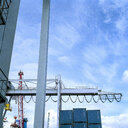 Gantry crane in port, low angle view - CUF25757