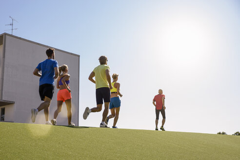 Small group of people running on grass - CUF26019