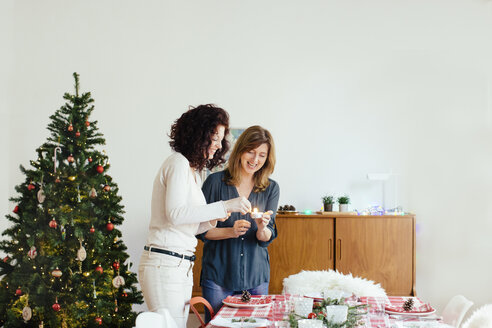 Women preparing for family Christmas party - CUF27051