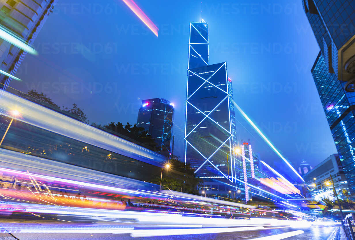 Central Hong Kong business district: skyline with Bank of China building and light trails at dusk, Hong Kong, China - CUF28324 - Henglein and Steets/Westend61