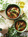 Casserole of prawns and garnish with glass of Indian coconut vinegar - CUF28440