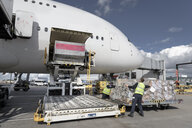 Ground crew loading freight into A380 aircraft - CUF28734
