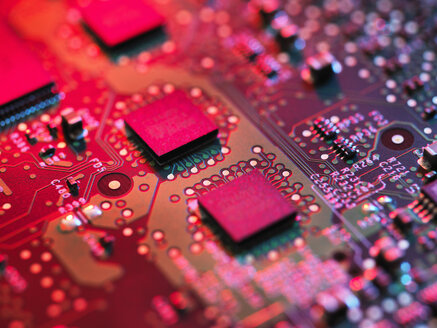 Close up detail of pink computer circuit board - CUF28808