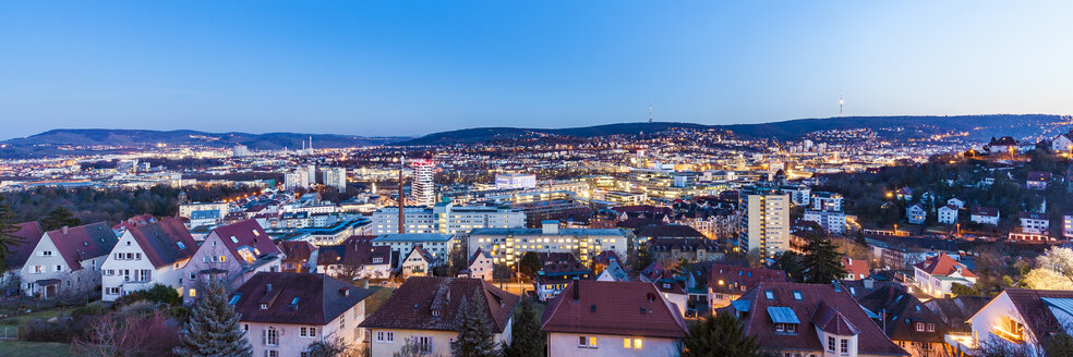 Germany, Stuttgart, panoramic cityscape with TV tower in the evening, blue hour - WDF04684