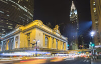 Busy traffic and Grand Central Station at night, New York, USA - CUF30413