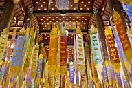 Buddhist temple interior, Chiang Mai City, Thailand - CUF30712