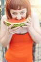 Young woman eating watermelon - CUF30889