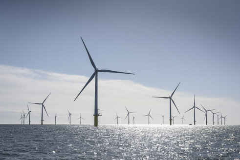 View of offshore windfarm from service boat at sea - CUF31084